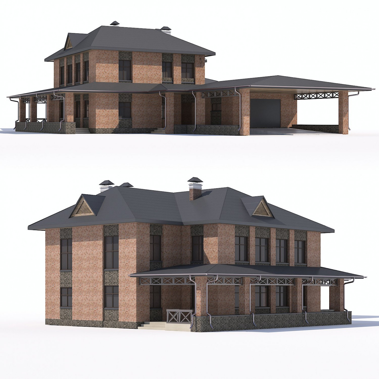 Two Storey Country House With Attached Garage And Carport Model 10D In Buildings 10DExport How To Build A Carport Attached To A Garage