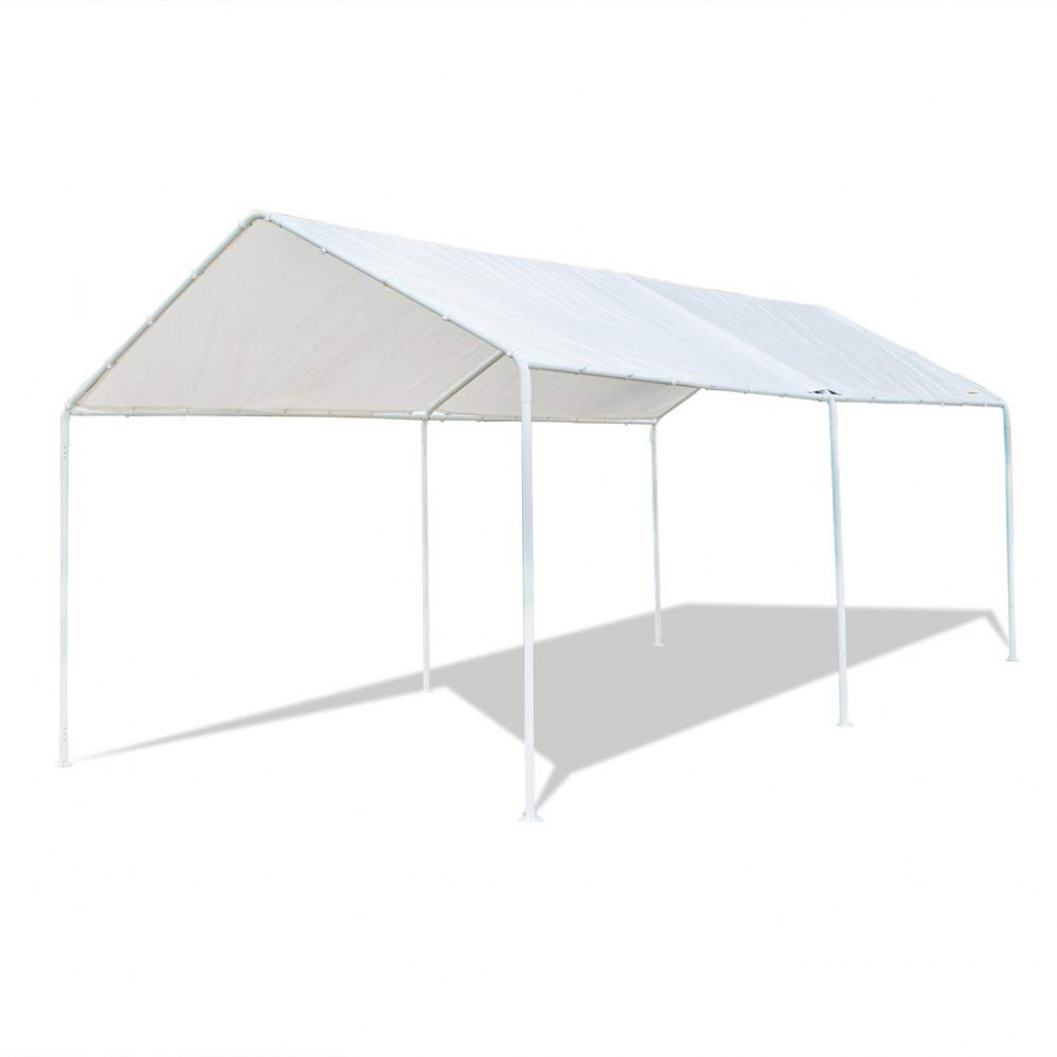 VINGLI 7'x7′ Domain Carport Car Canopy, Upgraded Steady Metal Steel 7 Legs, ISO Anti UV Waterproof Panels Versatile Garage Vehicle Sunshine ..