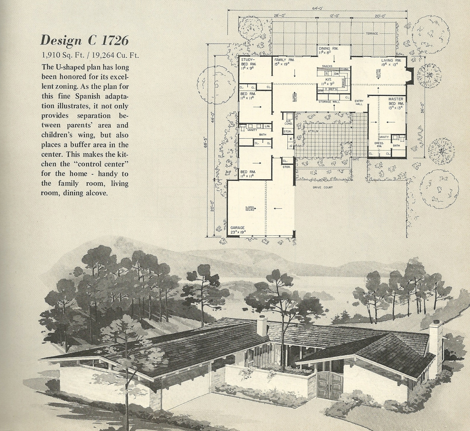Vintage House Plans 13   Mid Century Modern House With Carport