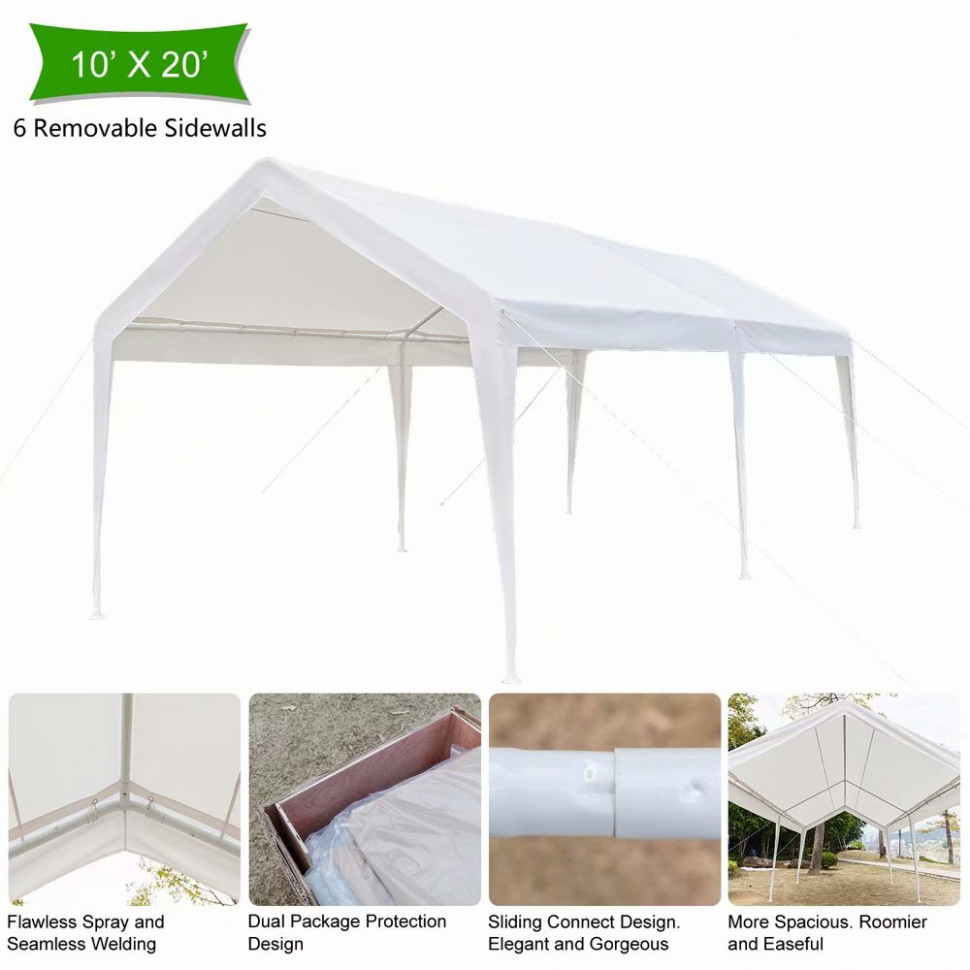 Viugreum 12x12ft Heavy Duty Portable Carport Canopy Garage Car Shelter  Party Tent White