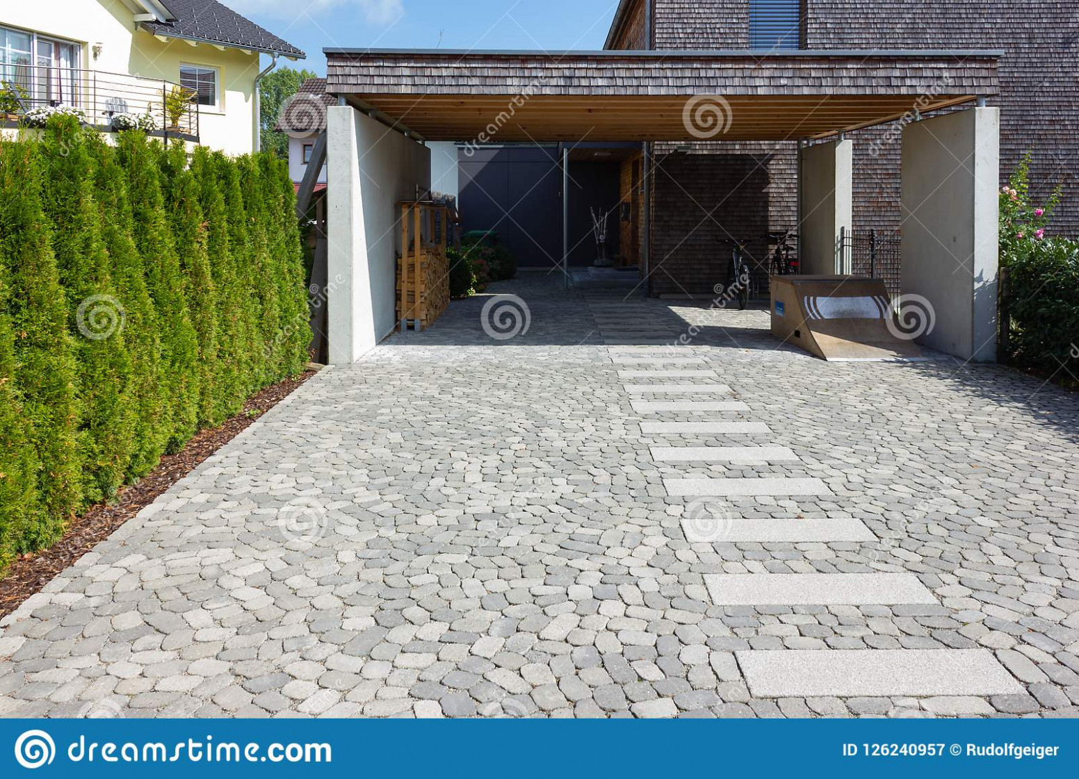 Wooden And Modern Carport Stock Image. Image Of House ..