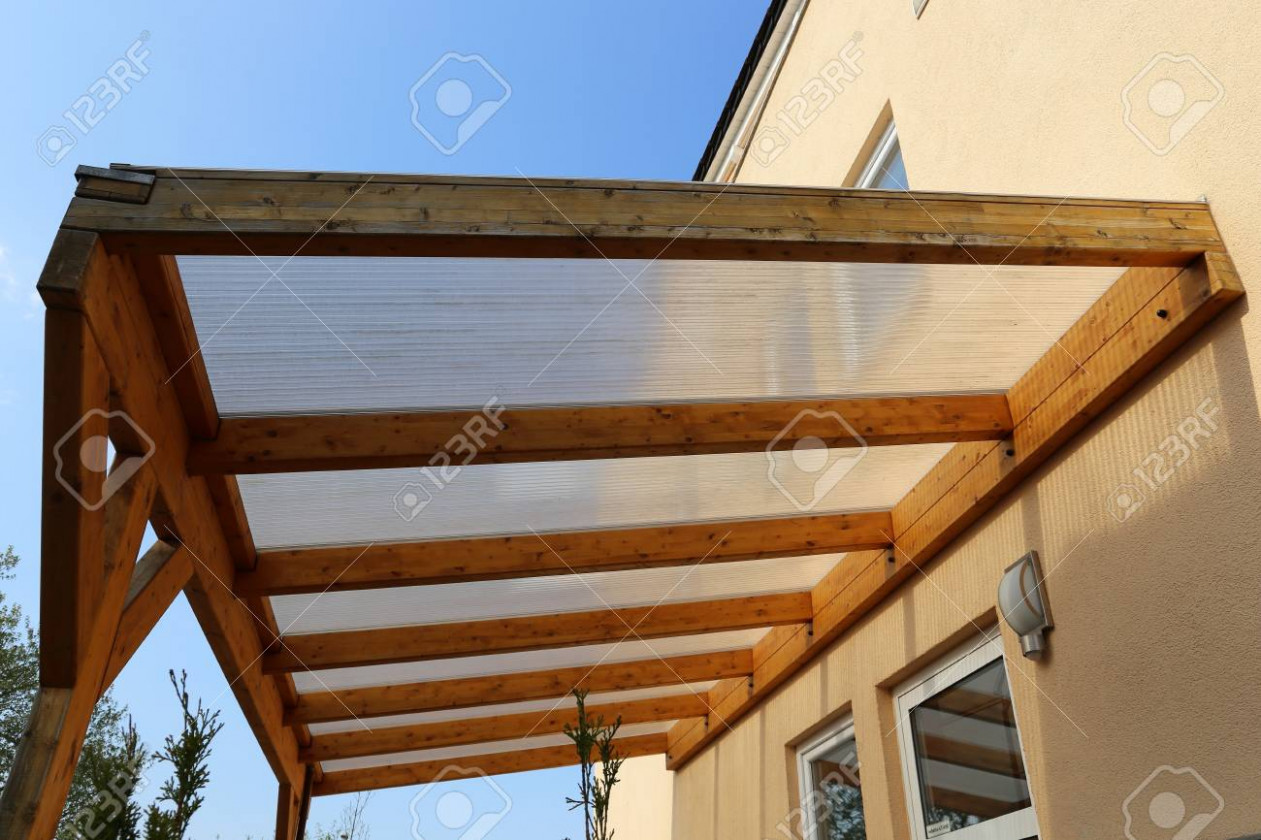 Wooden canopy on a residential home