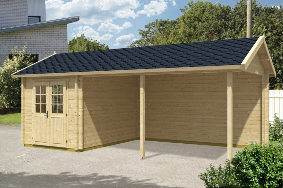 Wooden Carport Arthur With Tool Shed 21m² / 70mm / 3,5 X 7 ..