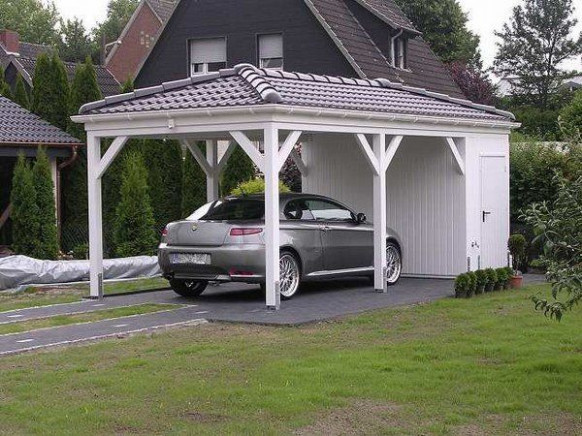 Wooden Carport Solid Roof Garage Shed Ideas House Exterior ..