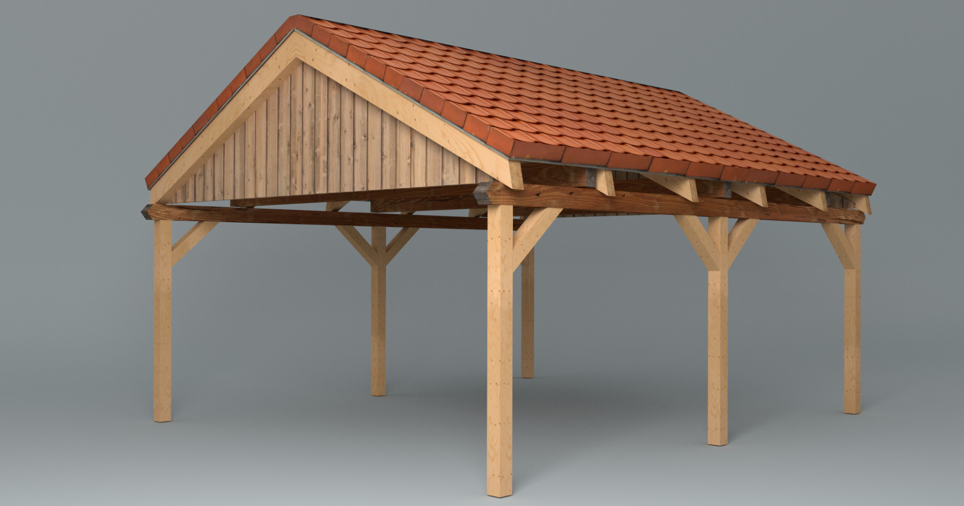 Wooden Carport With Saddle Roof (Lowpoly) Wooden Carport Installation