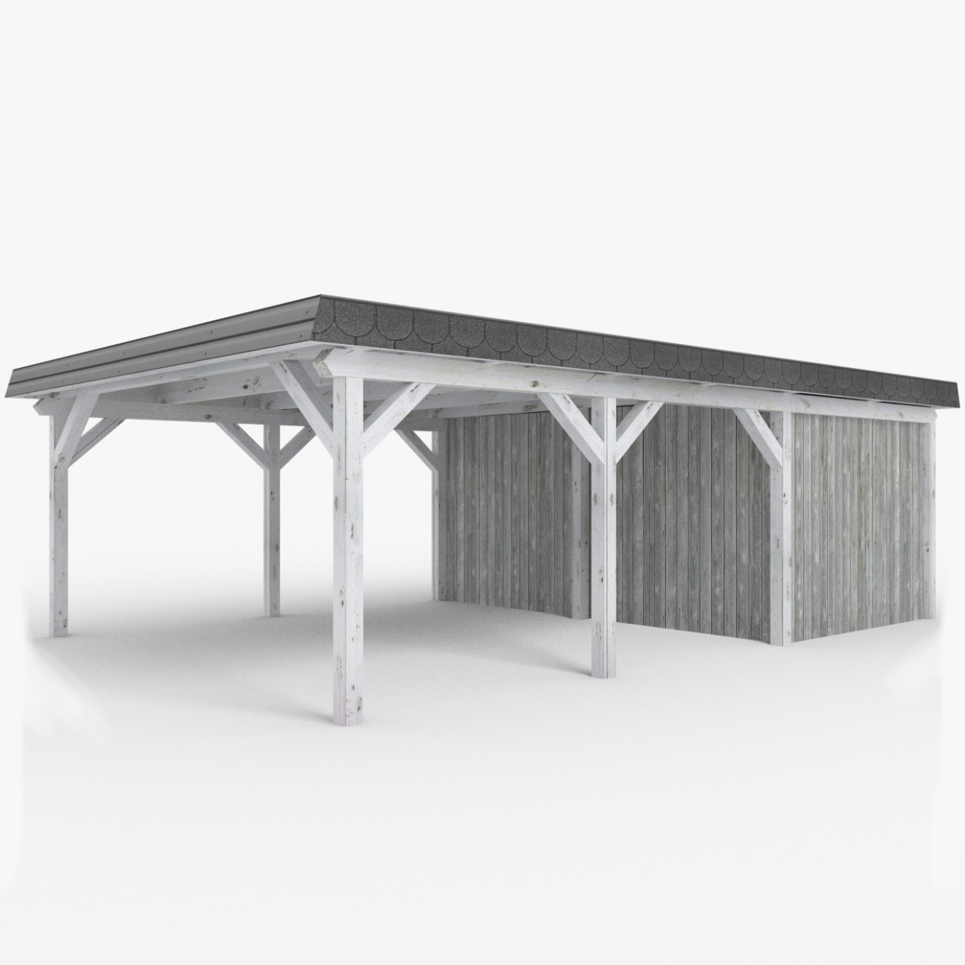 Wooden Carport with Shed (Lowpoly)
