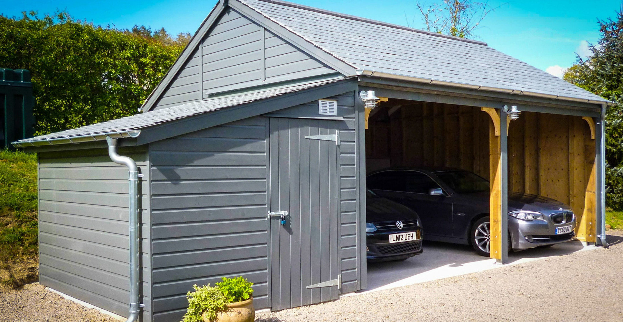 Wooden Carports In Devon By Shields Garden Buildings Wooden Carport With Storage Shed