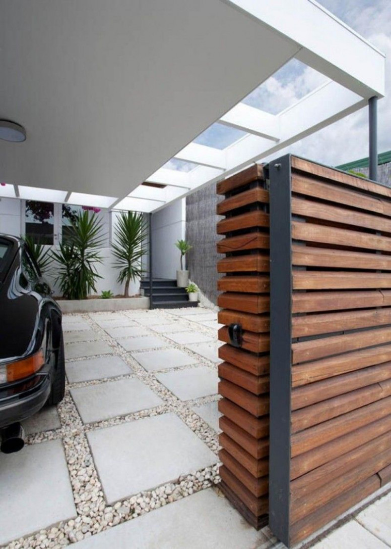 Wooden Gate And The Modern Carport For The Moder House ..