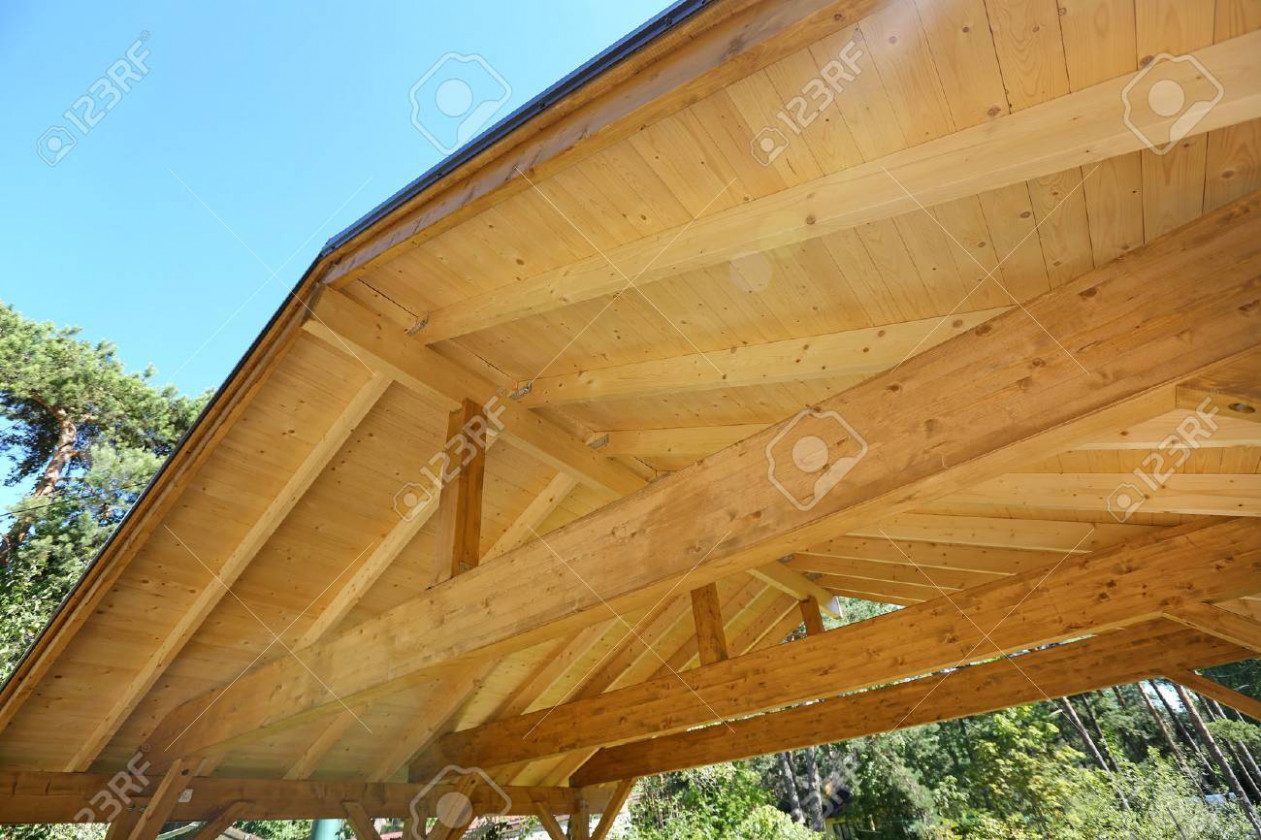 Wooden Roof Construction Of Outdoor Carport Wood Carport Roof