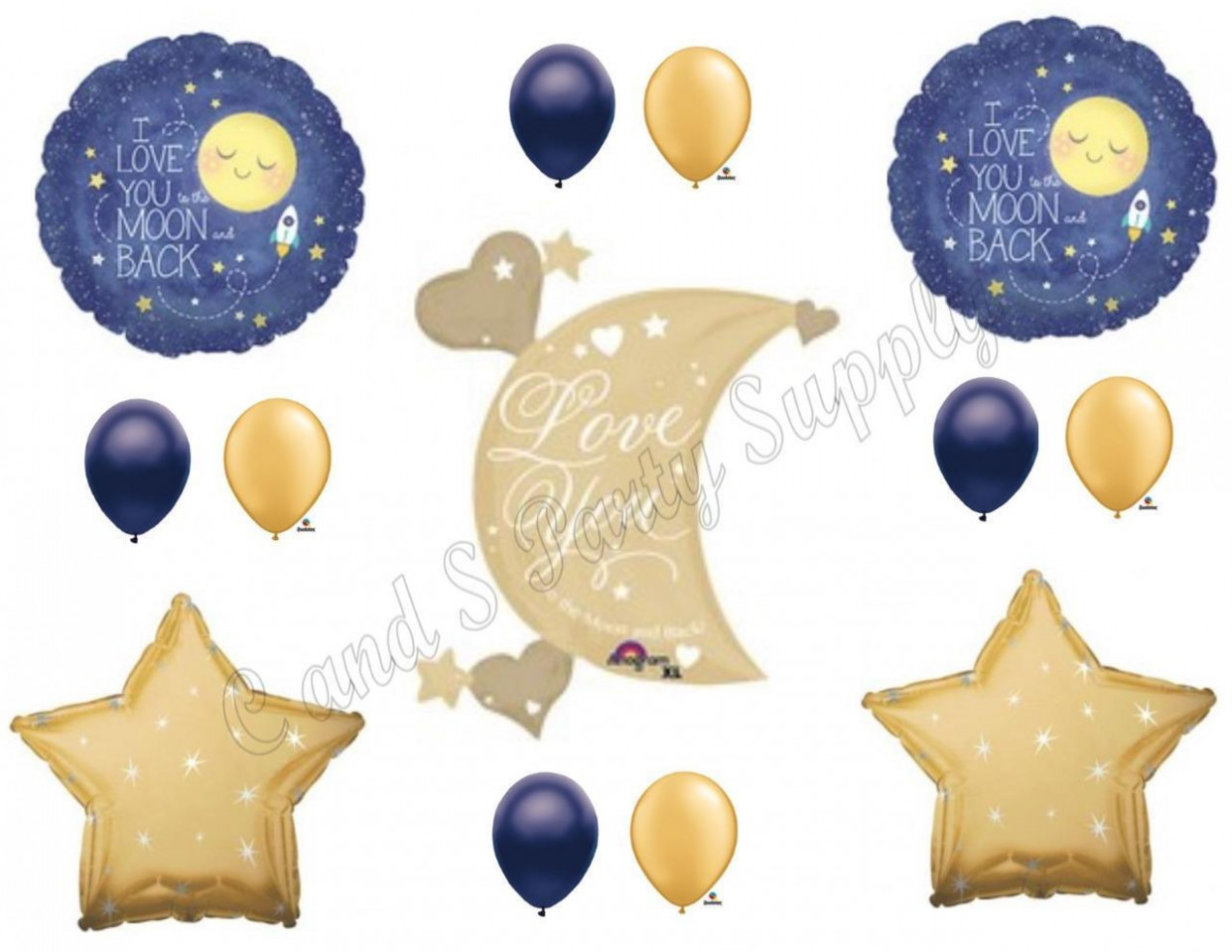 XL LOVE YOU TO MOON AND BACK Navy Gold Birthday Baby Shower Balloons Decorations Carport Decorating Xl
