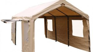 13 X 13 Feet Heavy Duty Carport/Canopy With Window And Sidewalls, Beige Used Carport Canopy For Sale