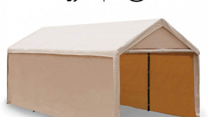 Abba Patio 8 X 8 Ft Heavy Duty Beige Carport Car Canopy Versatile Shelter With Sidewalls Wood Carport Canopy.jpeg