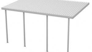 Integra 9 Ft W X 9 Ft D White Aluminum Attached Carport With 9 Posts 9 Lbs Roof Load Eco Carport Home Depot.jpg