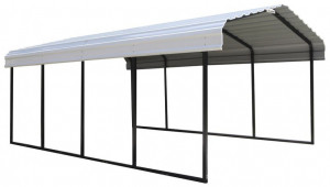 Arrow 12 Ft W X 12 Ft D Eggshell Galvanized Steel Carport Car Canopy And Shelter Shed Roof Carport Ideas.jpg