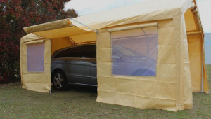 King Canopy Tan A Frame Enclosed Carport With Awning 10 10 X 15 Canopy Carport.jpg