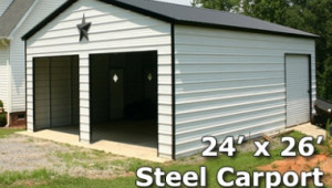 7×7 Fully Enclosed Steel Garage Carport Installation Included Game Portable Carport