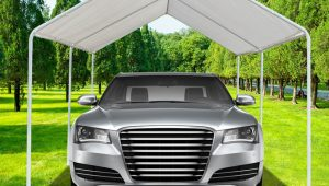Details About White Heavy Duty Garage Canopy Tent 12×12 FT Steel Carport Portable Car Shelter Executive Carport Valet Parking