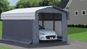 Grey Fabric Enclosure Kit For 11×11 Arrow Carport Metal Carport Garage Kit