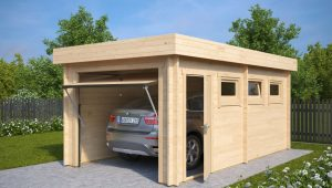 Modern Wooden Garage C With Up And Over Door / 9mm / 9 X 9,9 M Modern Timber Carports