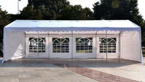 Outsunny 12'x12' Heavy Duty Outdoor Carport Wedding Party Event Tent Patio Gazebo Canopy With 12 Sidewalls, White Carport Canopy With Sidewalls