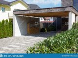 Wooden And Modern Carport Stock Photo. Image Of Exterior ..