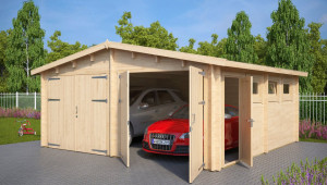 Wooden Double Garage E With Double Doors / 13mm / 13,13 X 13,13 M Wooden Carport And Garage